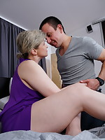 Hairy housewife making out with her younger lover